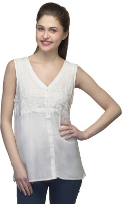 One Femme Party, Formal Sleeveless Solid Women,s White Top
