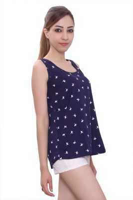 Tinge of Colors Casual, Beach Wear, Party, Lounge Wear Sleeveless Printed Women's Blue Top