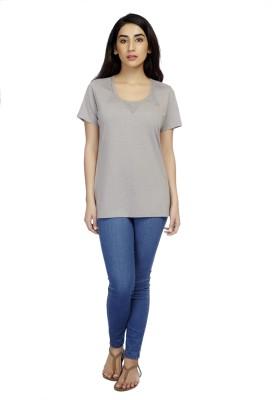 True Fashion Casual Short Sleeve Solid Women's Grey Top