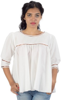 HastaVarna Studio Casual, Party, Lounge Wear 3/4 Sleeve Embroidered Women's White Top