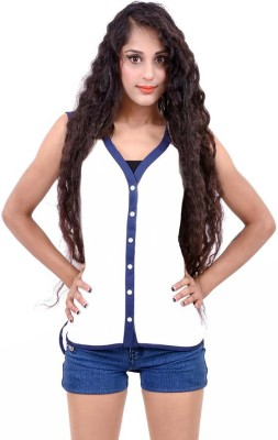 Palette Casual Sleeveless Solid Women's White, Blue Top