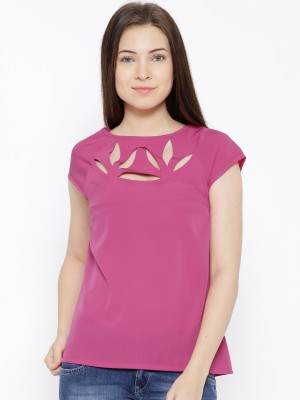 Citrine Casual Cap sleeve Solid Women's Pink Top