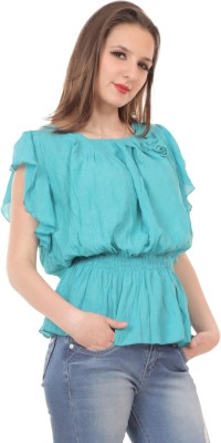 Showoff Casual Cap sleeve Solid Women's Blue Top