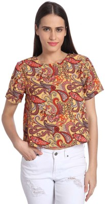 Vero Moda Casual Short Sleeve Printed Women's Red Top
