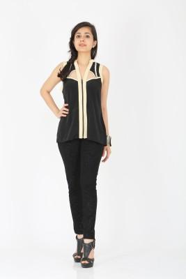 Schwof Casual Sleeveless Solid Women's Black, Beige Top