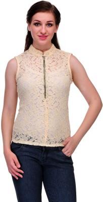Samayra Casual Sleeveless Woven Women's Beige Top