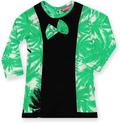 Dreamszone Casual 3/4 Sleeve Printed Girl,s Green, Black Top