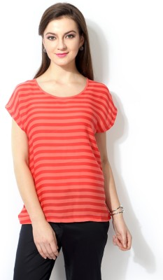 Van Heusen Casual Short Sleeve Striped Women's Red Top