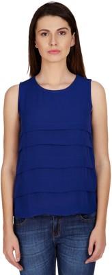 American Swan Casual Sleeveless Printed Women's Blue Top