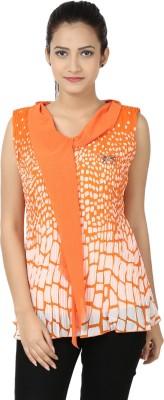 Adhaans Casual Sleeveless Printed Women's Orange, White Top