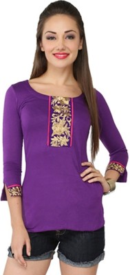 Aayushi Collection Casual 3/4 Sleeve Embroidered Women's Purple Top