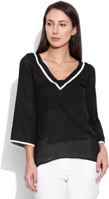 Oshea Casual 3/4 Sleeve Solid Women,s Black Top