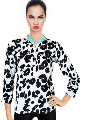 BeforeAfter Casual 3/4 Sleeve Animal Print Women's Black, White Top