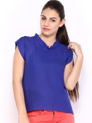 HRX by Hrithik Roshan Casual 3/4th Sleeve Solid Women's Blue Top at flipkart