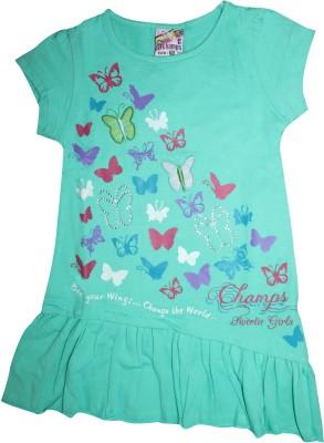 Mankoose Casual Short Sleeve Printed Girl's Green Top