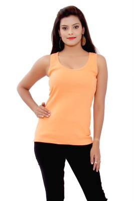 SML Casual Sleeveless Self Design Women's Orange Top