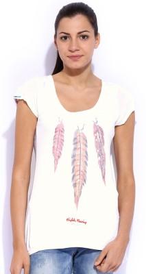 Jn Joy Casual Short Sleeve Printed Women's White Top