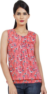 Shopcartz Casual, Party, Festive Sleeveless Printed Women's Pink Top