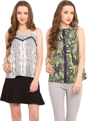 Pryma Donna Casual Sleeveless Printed Women's Blue, Green, White Top