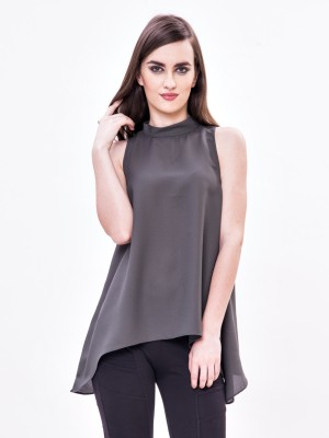 Envy Me Casual Sleeveless Solid Women,s Grey Top