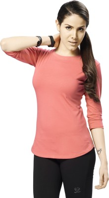 Restless Sports, Casual 3/4 Sleeve Solid Women's Orange, Dark Blue Top