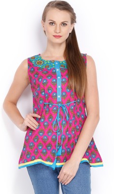 Vishudh Casual Sleeveless Printed Women's Pink, Blue Top