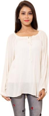 Eleganceranuka Party Full Sleeve Self Design Women's White Top