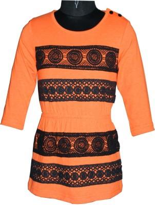 Posh Kids Casual 3/4 Sleeve Solid Baby Girl's Orange Top