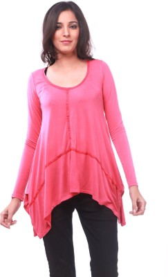 La Divyyu Party Full Sleeve Solid Women's Pink Top