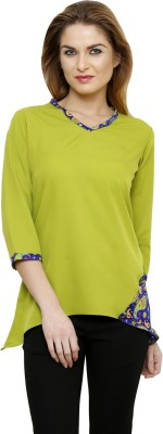 Ritzzy Casual 3/4 Sleeve Solid Women's Green Top