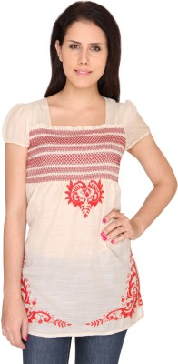 Bedazzle Casual Short Sleeve Printed Women's Pink Top at flipkart