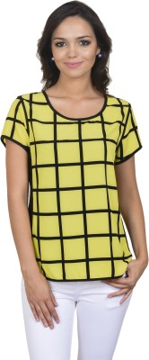 Antilia Femme Casual Short Sleeve Checkered Women's Yellow Top