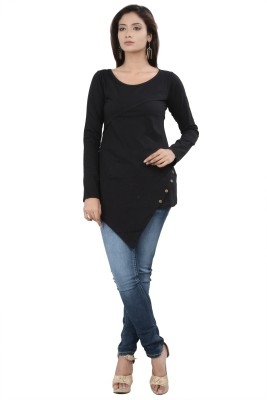 No Code Party Full Sleeve Solid Women's Black Top