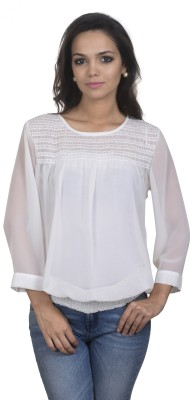 Antilia Femme Casual 3/4 Sleeve Solid Women's White Top