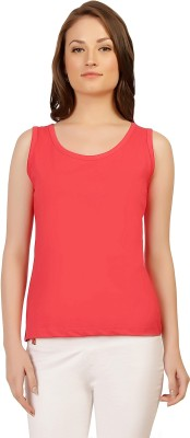 Folkswear Casual Sleeveless Solid Women's Red Top