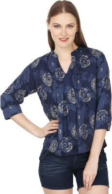 Atulya Casual 3/4 Sleeve Printed Women's Blue Top