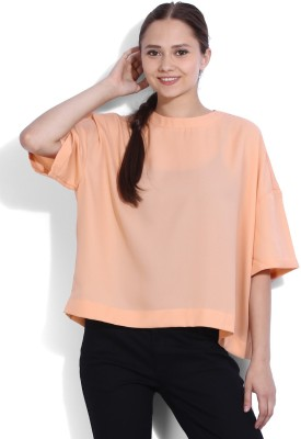 Vanheusen Casual Short Sleeve Solid Womens Pink Top