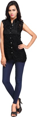 Cherryplus Casual, Party Sleeveless Solid Women's Black Top