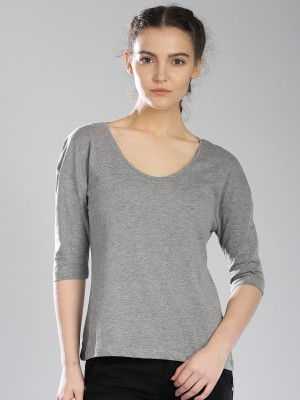 HRX by Hrithik Roshan Casual 3/4 Sleeve Solid Women's Grey Top