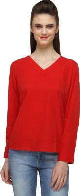 Miss Rich Casual Full Sleeve Solid Women's Red Top