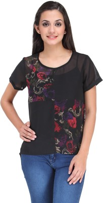 Motif Casual Short Sleeve Printed Women's Black Top