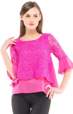 Kazo Casual 3/4 Sleeve Self Design Women's Pink Top