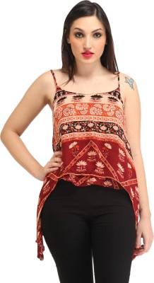 Amirich Casual Sleeveless Self Design Women's Multicolor Top
