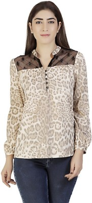 Gudi Casual Full Sleeve Animal Print Women's Beige Top