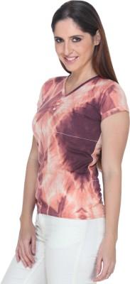 Fast n Fashion Casual Short Sleeve Geometric Print Women's Orange Top