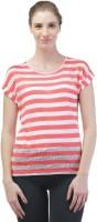 Merch21 Casual Short Sleeve Striped Women's Pink Top best price on Flipkart @ Rs. 298