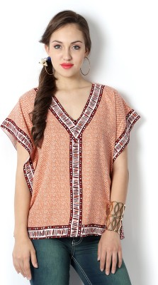 People Casual Short Sleeve Printed Women's Orange Top at flipkart