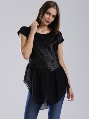 Dressberry Casual Short Sleeve Solid Women's Black Top