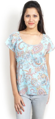 Bay & Blue Casual Cape Sleeve Printed Women's Light Blue, White Top
