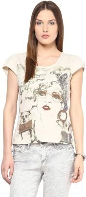 Remanika Printed Women's Round Neck White T-Shirt